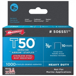 ARROW AR506SS1 - T50 10mm Stainless Steel Staples - Click for more info