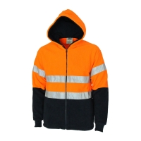 DNC Hivis full zip polar fleece hoodie with CSR R/tape - Click for more info