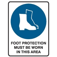 Foot Protection Must Be Worn Sign - Click for more info