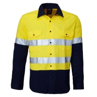 Ritemate RM1050R 2 tone open front long sleeve shirt with reflective tape - Click for more info