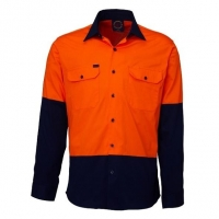 Ritemate RM107V2 Vented 2 tone open front long sleeve shirt - Click for more info