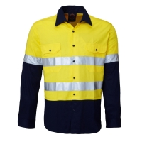 Ritemate RM107V2R Vented 2 tone open front long sleeve shirt with reflective tap - Click for more info