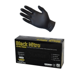 ULTRA FRESH 100pack Black Nitrile Glove - Click for more info