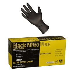 ULTRA FRESH 100pack Black Nitrile Extended Cuff Glove - Click for more info